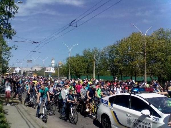 Велодень в Сумах в поддержку Всеукраинского велодня.